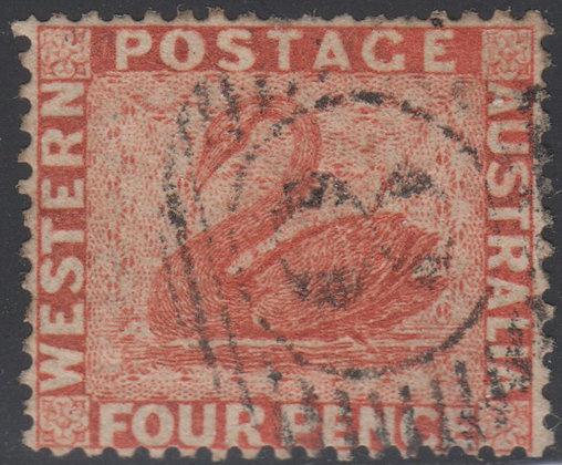 WESTERN AUSTRALIA SG 040 1861 4d Vermilion, Used 15 bar 8 Fremantle.