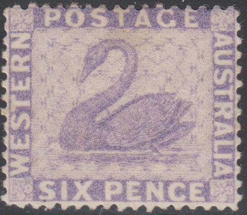 WESTERN AUSTRALIA SG 080 1882-85 6d Lilac, Very Fine Mint Hinged.