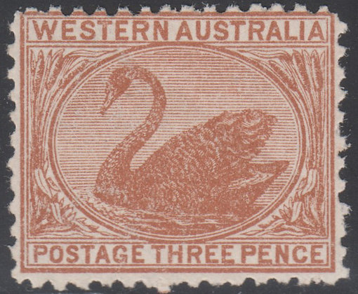 WESTERN AUSTRALIA SG 170a 3d Dull Orange-brown, Watermark Upright