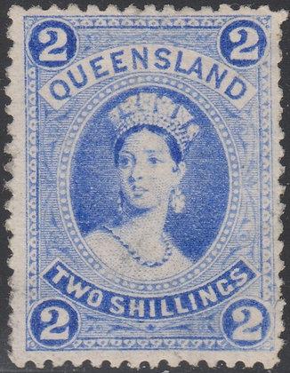 QUEENSLAND SG 152 1882-95 2/- Bright Blue, Mint Largepart original gum.