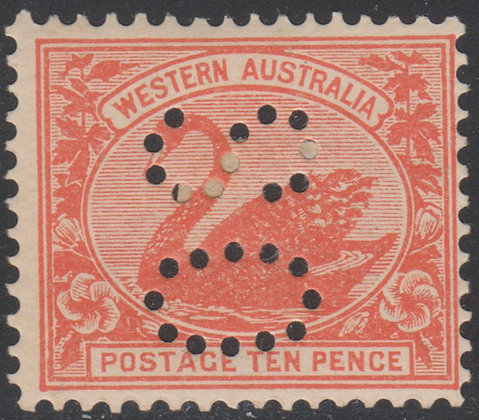 WESTERN AUSTRALIA SG 123 OS 1902-11 10d Red, Fine Mint Hinged Punctured OS,