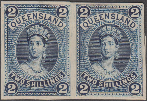 QUEENSLAND SG 152 PLATE PROOF COLOUR TRIAL PAIR IN DEEP BLUE.