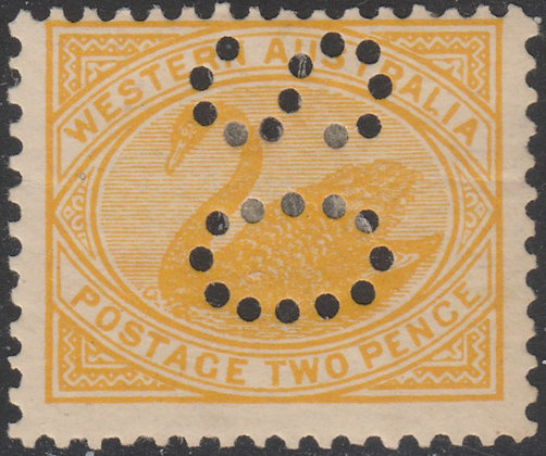 WESTERN AUSTRALIA SG 118 OS 2d Orange-yellow, Fine Mint Hinged Punctured OS.