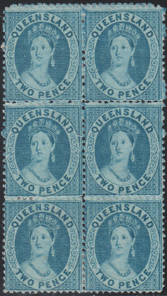 QUEENSLAND SG 062 2d BRIGHT BLUE BLOCK OF 6