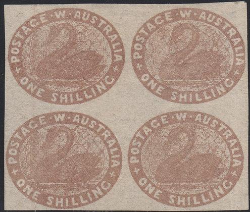 WESTERN AUSTRALIA SG 004c 1855 (Oct) 1/- Pale brown Unused No Gum, Block of 4