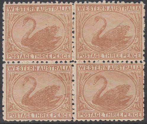 WESTERN AUSTRALIA SG 141 Variety 3d Yellow-brown, Watermark Sideways Reversed.