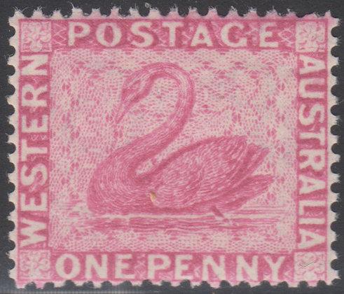 WESTERN AUSTRALIA SG 103 1888 new colour, 1d Carmine-pink, Fine Mint Lightly Hin