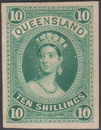 QUEENSLAND SG 155 10/- IMPERF PLATE PROOF