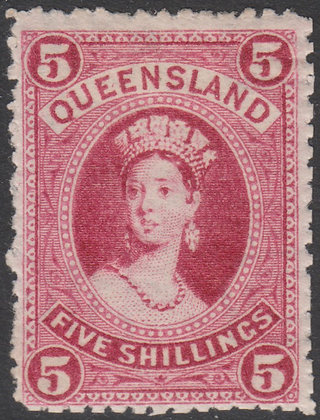 QUEENSLAND SG 163 1882-95 5/- Crimson, Mint Hinged.