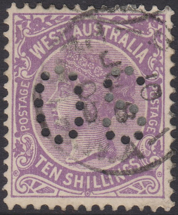 WESTERN AUSTRALIA SG 127 OS 1902-11 10/- Deep Mauve, Used, Punctured OS.