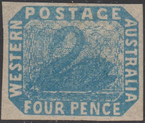 WESTERN AUSTRALIA SG 003a 1854-55 4d Blue, Unused Full Margin Example.