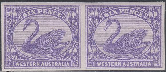 WESTERN AUSTRALIA SG 115 1898-1907 6d Bright Violet. Plate Proof Imperf Pair,