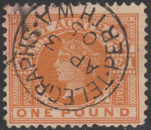 WESTERN AUSTRALIA SG 128 1902-12 £1 Orange-brown, Used Telegraphs Perth WA Dates