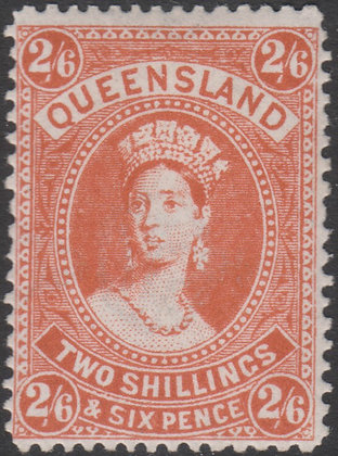 QUEENSLAND SG 309 1907-11 2/6d Pale Dull Vermilion, Fine Mint Lightly Hinged.