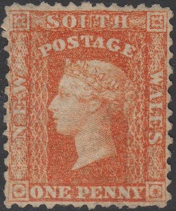 NEW SOUTH WALES SG 131 1860-72 1d Orange-red, Unused No Gum. Perf 12