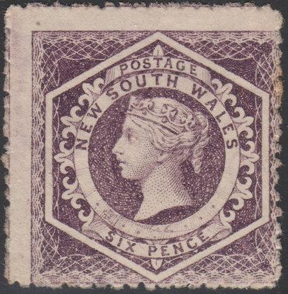NEW SOUTH WALES SG 163 1860-72 6d Reddish Purple, Unused no gum.