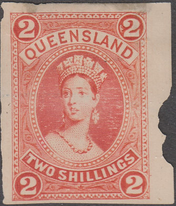 QUEENSLAND SG 152 PLATE PROOF COLOUR TRIAL VERMILION.