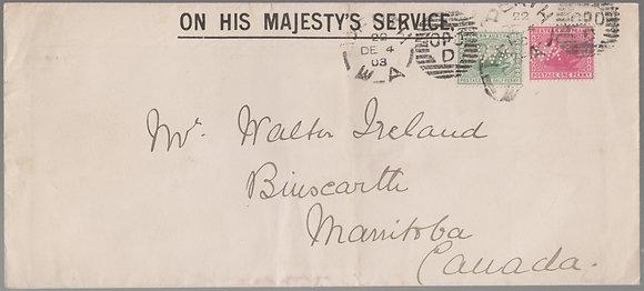 WESTERN AUSTRALIA SG 094 & 112 on 1903 ( DE 4 ) OHMS Envelope