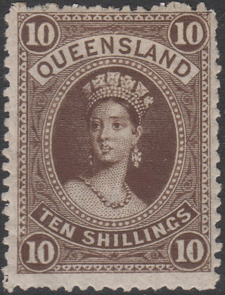 QUEENSLAND SG 155 1882-95 10/- Brown. Mint Hinged.