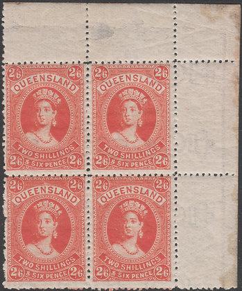 QUEENSLAND SG 162 1882-95 2/6d Vermilion, Mint Hinged. Block of 4