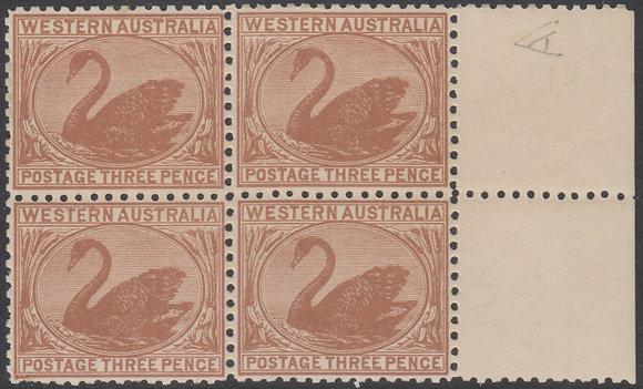 WESTERN AUSTRALIA SG 141 1905-12 3d Brown, Fine Mint Unhinged Marginal Block of