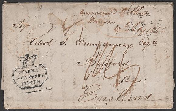 WESTERN AUSTRALIA 1846PART ENTIRE PERTH TO ENGLAND