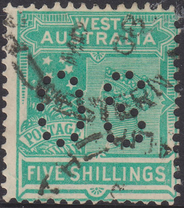 WESTERN AUSTRALIA SG 126 OS 1902-11 5/- Emerald-green, Used, Punctured OS.