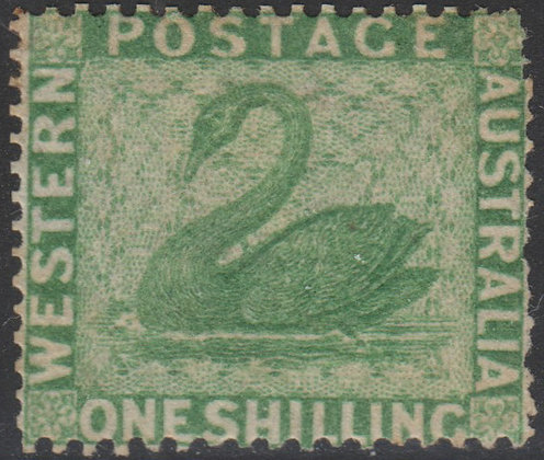 WESTERN AUSTRALIA SG 043a 1861 1/- Yellow-green, Mint Part Gum.