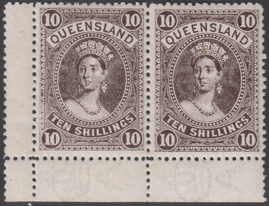 QUEENSLAND SG 311 1907-11 10/- Blackish Brown, Horizontal Pair, Mint Hinged.