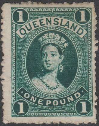 QUEENSLAND SG 161 1882-95 £1 Deep Green, Thick Paper. Mint Hinged.