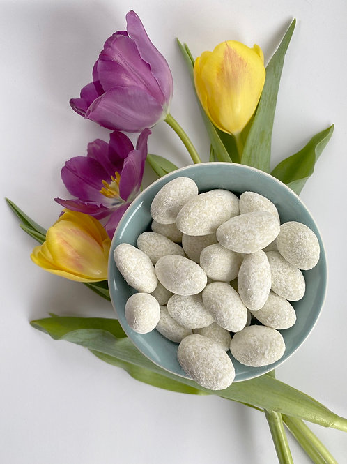 Dusted Dark and White Chocolate Covered Aspen Mint Almonds