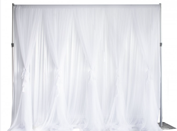 White ruffle tulle backdrop 3x3 m