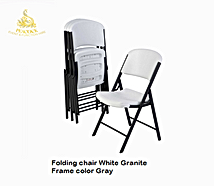 Folding White Chair - Gray Frame