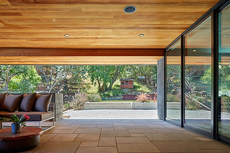 Belmont Residence, outdoor room with view to rear yard
