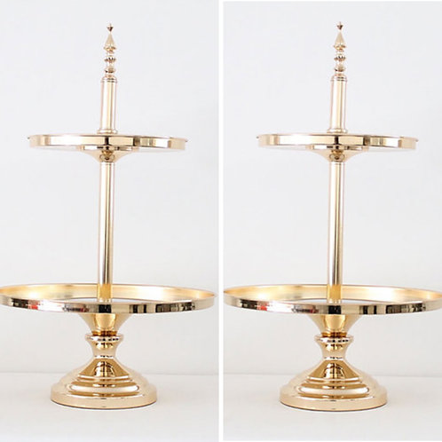 two tier Gold Mirror Cake Stand x 2