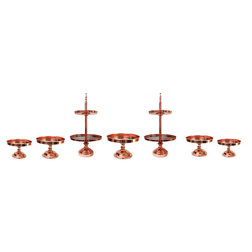 7 piece Rose Gold Mirror Cakestand Set