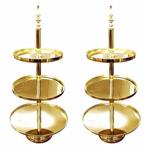 2 x Three Tier Gold Mirror Stands
