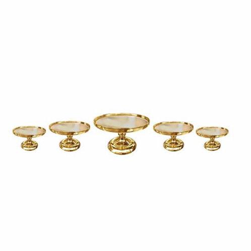 5 Piece Gold Mirror Cake Stand Set
