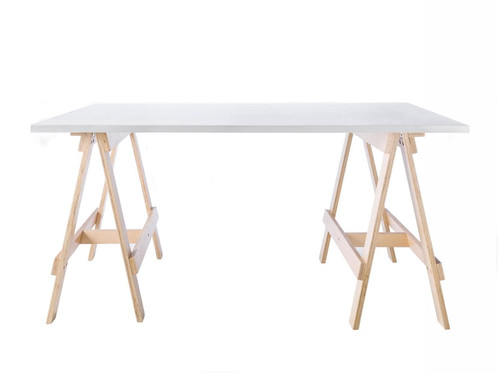 Trestle Table   White Top, Natural Legs