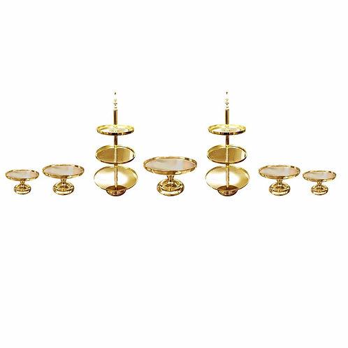 7 piece Gold Mirror Cake Stand set
