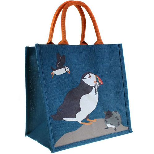 Puffin And Chick Jute bag