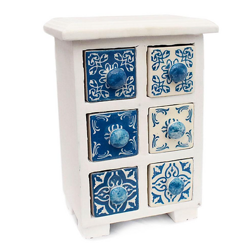 Wooden Mini Chest blue & white - 6 Ceramic Drawers