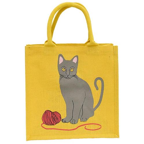 Cat with Wool Jute Bag