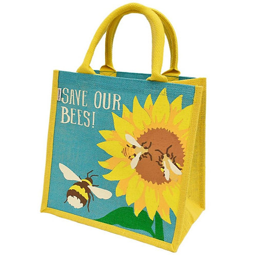 Save the Bees with Sunflower Jute Bag