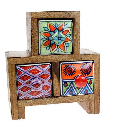 Wooden Mini Chest - 2+1 Ceramic Drawers