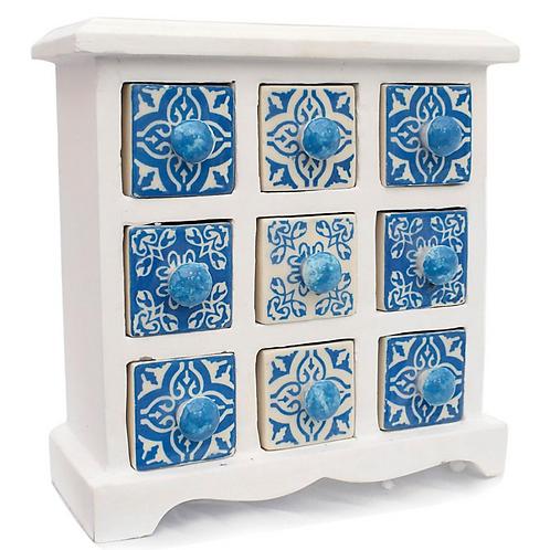 Wooden Mini Chest blue & white - 9 Ceramic Drawers
