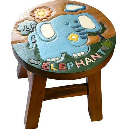 Elephant stool with text
