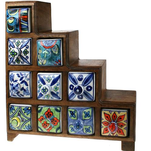 Wooden Mini Chest - 4+3+2+1 Ceramic Drawers