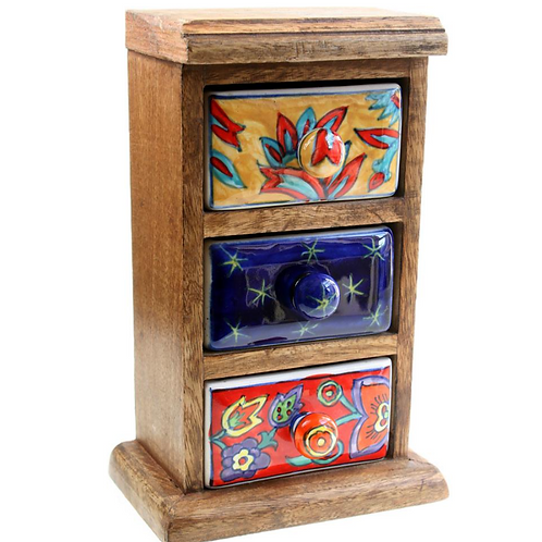 Wooden Mini Chest - 3 Ceramic Drawers