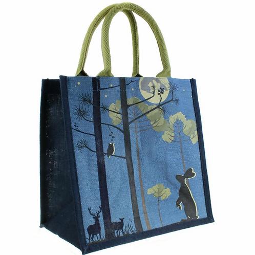 Hare Owl and Moon Jute Bag